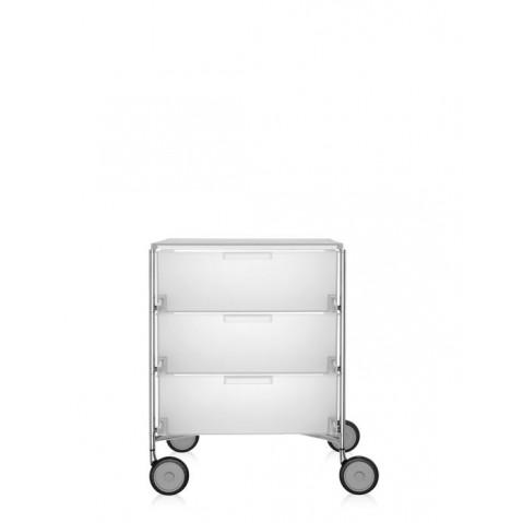 Meuble de rangement MOBIL trois étagère de Kartell, Blanc Glace, Avec roulettes