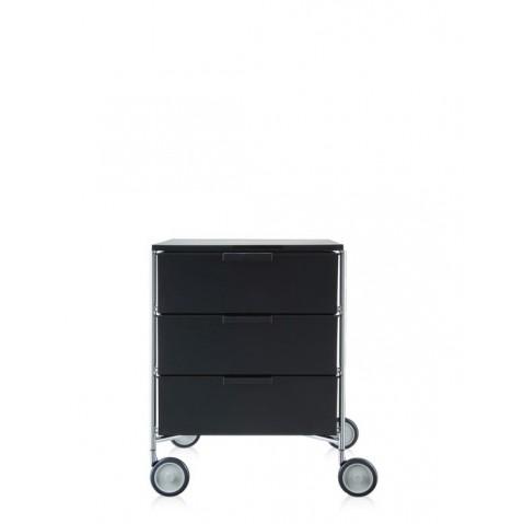 Meuble de rangement MOBIL trois étagère de Kartell, Fumé Brillant, Avec roulettes