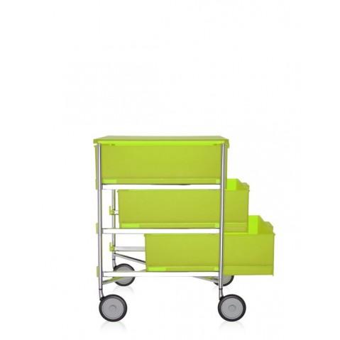 meuble de rangement mobil trois tag re de kartell jaune c dre avec roulettes. Black Bedroom Furniture Sets. Home Design Ideas