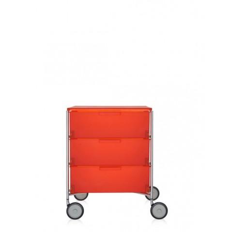 Meuble de rangement MOBIL trois étagère de Kartell, Orange, Avec roulettes