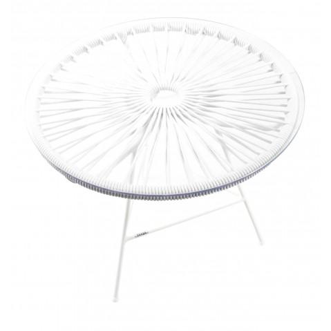 Table basse MINI ZIPOLITE de Boqa avec structure blanche, Blanc d'argent