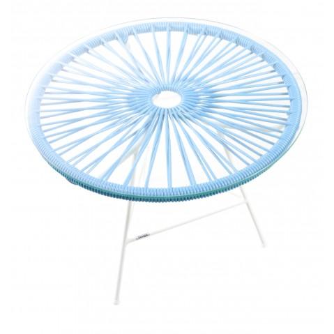 Table basse MINI ZIPOLITE de Boqa avec structure blanche, Bleu ciel