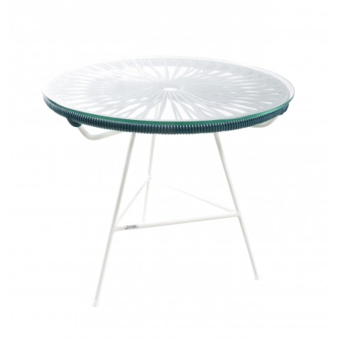 table basse zipolite de boqa avec structure blanche bleu canard. Black Bedroom Furniture Sets. Home Design Ideas