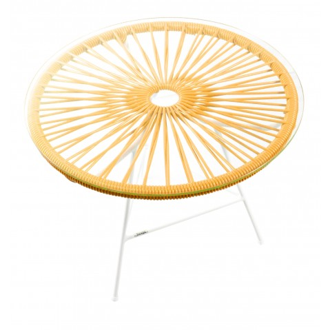 Table basse ZIPOLITE de Boqa avec structure blanche, Orange