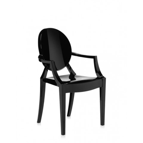fauteuil louis ghost de kartell noir brillant. Black Bedroom Furniture Sets. Home Design Ideas