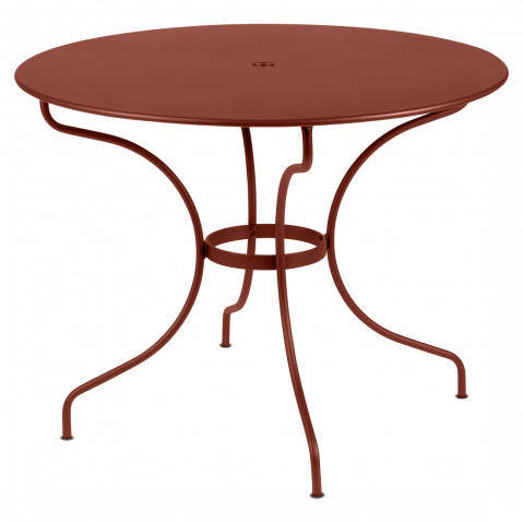 Table ronde OPÉRA D.96 ou D.117 cm de Fermob, D. 96, ocre rouge