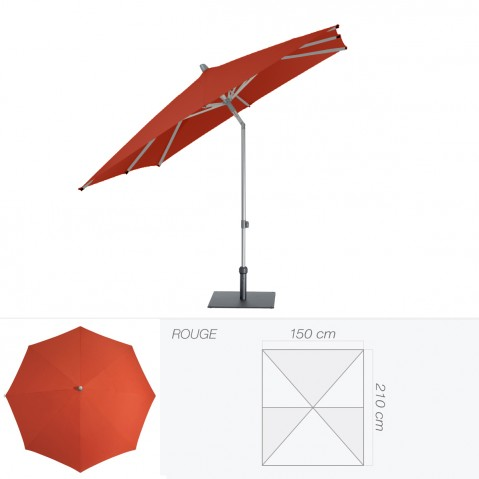 Parasol ALU-PUSH de Glatz rectangulaire 210x150 cm rouge