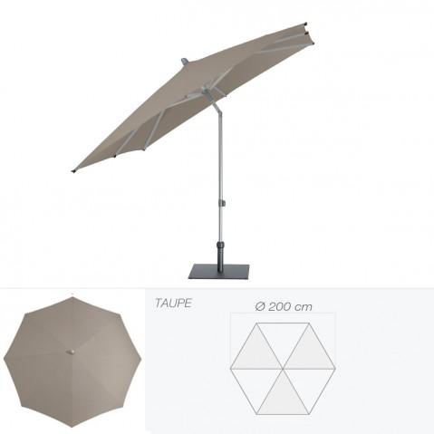 Parasol ALU-PUSH de Glatz rond D.200 cm taupe