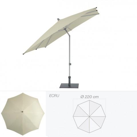 Parasol ALU-PUSH de Glatz rond D.220 cm écru