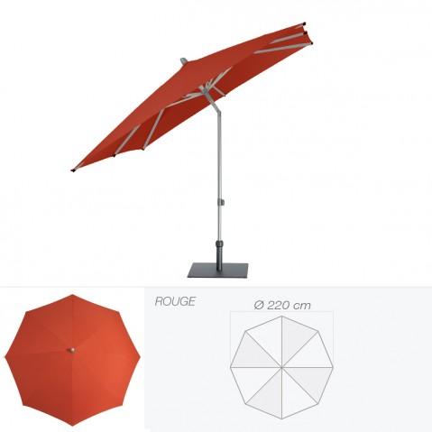 Parasol ALU-PUSH de Glatz rond D.220 cm rouge