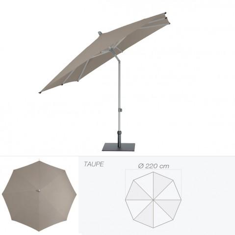 Parasol ALU-PUSH de Glatz rond D.220 cm taupe