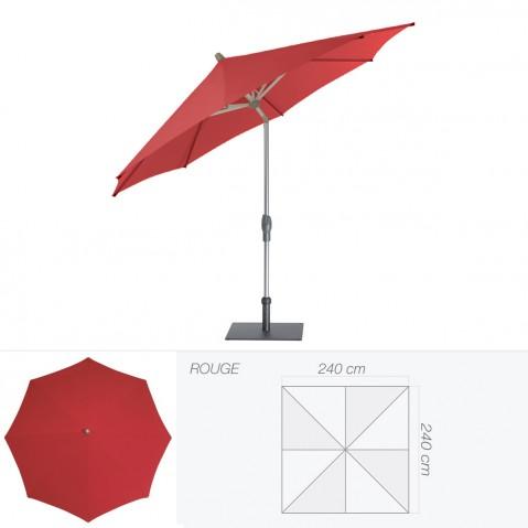 Parasol ALU-TWIST EASY de Glatz carré 240x240 cm rouge