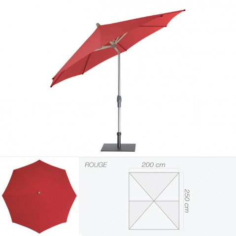 Parasol ALU-TWIST EASY de Glatz rectangulaire 250x200 cm rouge