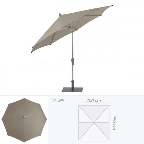 Parasol ALU-TWIST EASY de Glatz rectangulaire 250x200 cm taupe