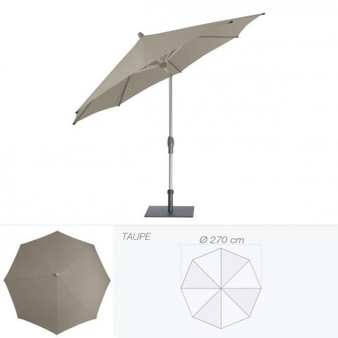 Parasol ALU-TWIST EASY de Glatz rond D.270 cm taupe