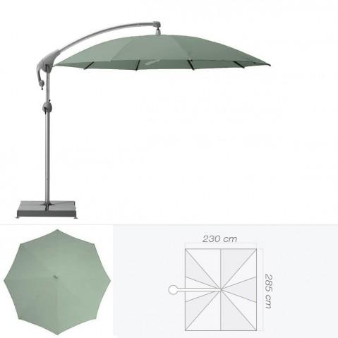 Parasol décentré PENDALEX P+ de Glatz rectangulaire vert de gris
