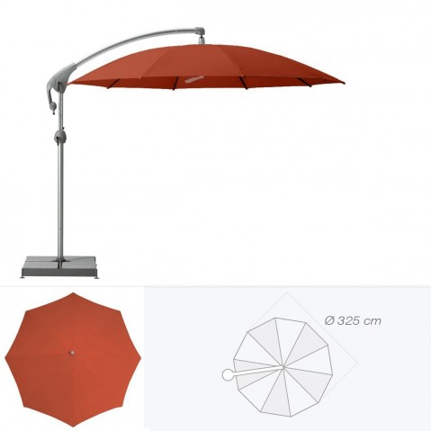 Parasol décentré PENDALEX P+ de Glatz rond D.325 cm rouge tomette