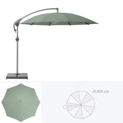Parasol décentré PENDALEX P+ de Glatz rond D.350 cm vert de gris