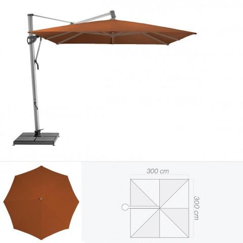 Parasol décentré SOMBRANO de Glatz carré 300x300 cm acajou