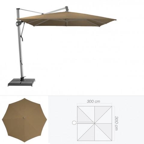 Parasol décentré SOMBRANO de Glatz carré 300x300 cm bistre