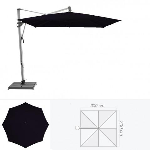 Parasol décentré SOMBRANO de Glatz carré 300x300 cm Noir d'anilime
