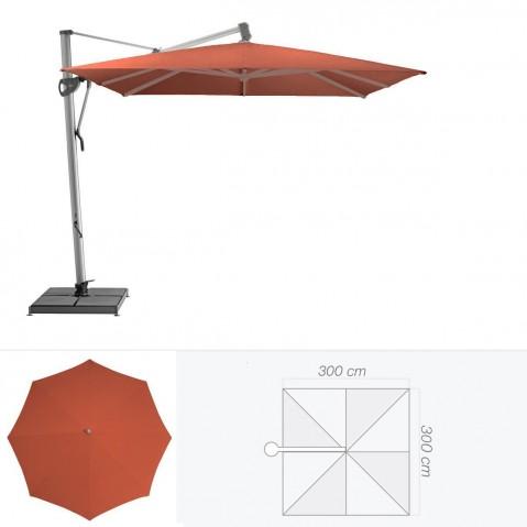 Parasol décentré SOMBRANO de Glatz carré 300x300 cm rouge tomette