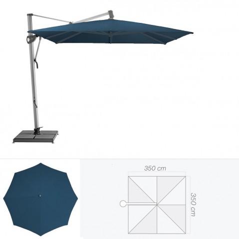 Parasol décentré SOMBRANO de Glatz carré 350x350 cm bleu de prusse