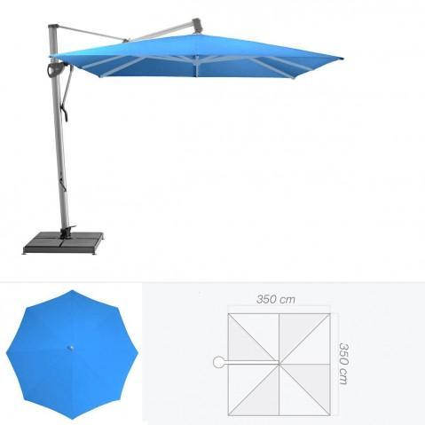 Parasol décentré SOMBRANO de Glatz carré 350x350 cm bleu roi