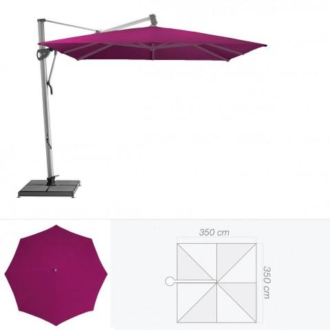Parasol décentré SOMBRANO de Glatz carré 350x350 cm prune