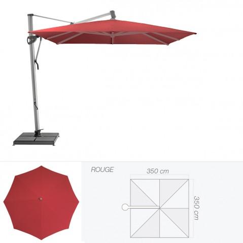 Parasol décentré SOMBRANO S+ de Glatz carré 350x350 cm rouge