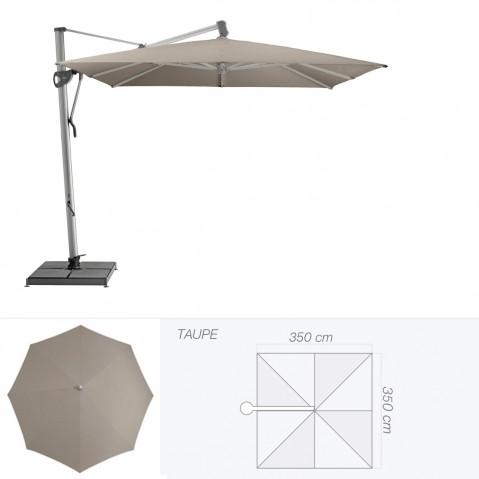 Parasol décentré SOMBRANO S+ de Glatz carré 350x350 cm taupe