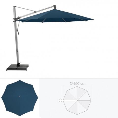 Parasol décentré SOMBRANO de Glatz rond D.350 cm bleu de prusse