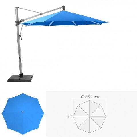 Parasol décentré SOMBRANO de Glatz rond D.350 cm bleu roi