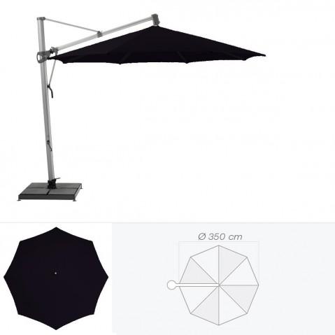 Parasol décentré SOMBRANO de Glatz rond D.350 cm Noir d'anilime