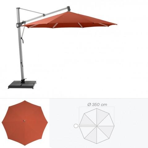 Parasol décentré SOMBRANO de Glatz rond D.350 cm rouge tomette