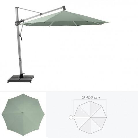 Parasol décentré SOMBRANO de Glatz rond D.400 cm vert de gris