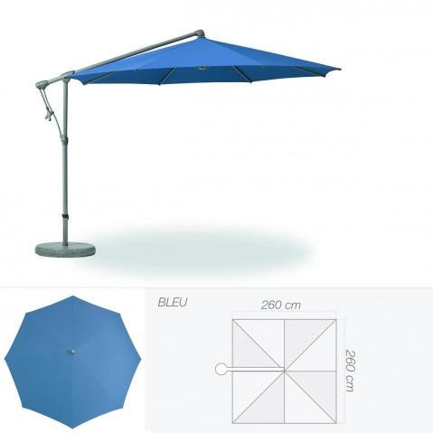 Parasol décentré SUNWING C+ de Glatz carré 260x260 cm bleu