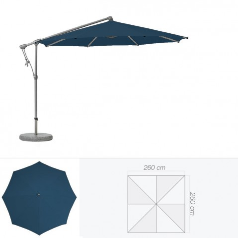 Parasol décentré SUNWING C+ de Glatz carré 260x260 cm bleu de prusse