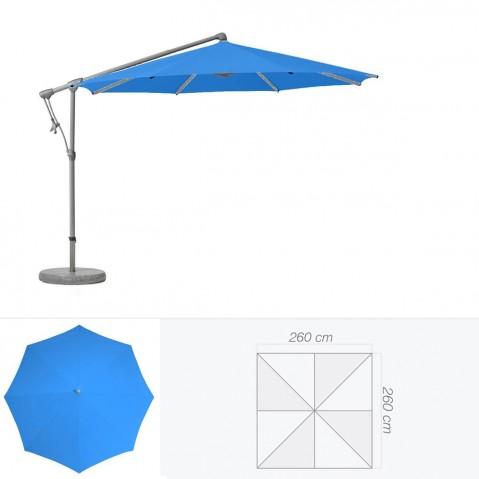 Parasol décentré SUNWING C+ de Glatz carré 260x260 cm bleu roi