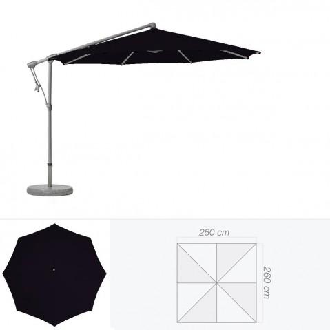 Parasol décentré SUNWING C+ de Glatz carré 260x260 cm Noir d'anilime
