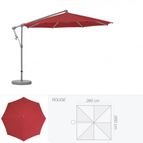 Parasol décentré SUNWING C+ de Glatz carré 260x260 cm rouge