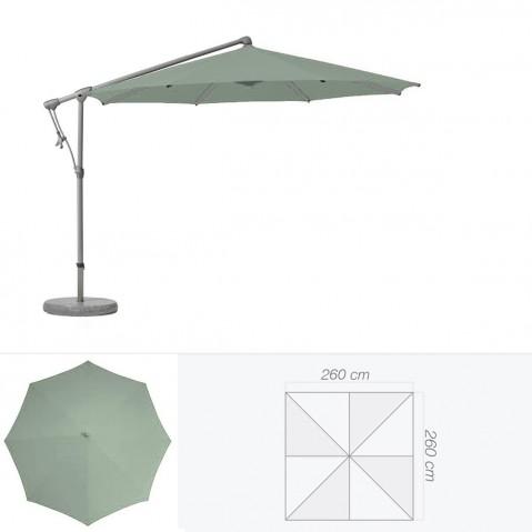 Parasol décentré SUNWING C+ de Glatz carré 260x260 cm vert de gris