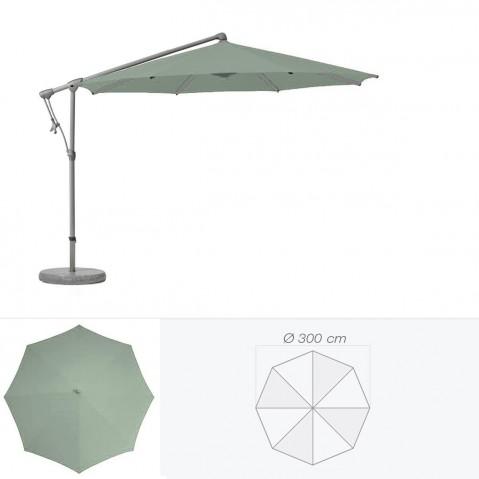 Parasol décentré SUNWING C+ de Glatz rond D.300 cm vert de gris