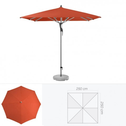 Parasol FORTERO de Glatz carré 250x250 cm rouge tomette