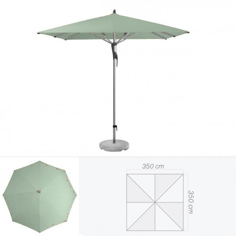 Parasol FORTERO de Glatz carré 350x350 cm vert de gris