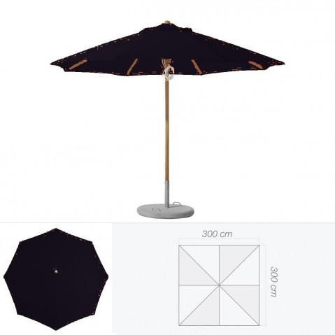 Parasol PIAZZINO de Glatz carré 300x300 cm noir d'aniline