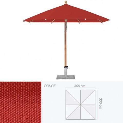 Parasol PIAZZINO de Glatz carré 300x300 cm rouge