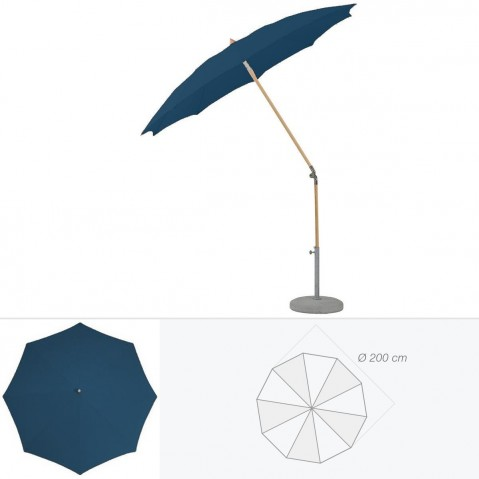 Parasol rond ALEXO de Glatz D.200 cm bleu de prusse