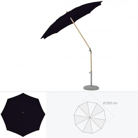 Parasol rond ALEXO de Glatz D.200 cm Noir d'anilime