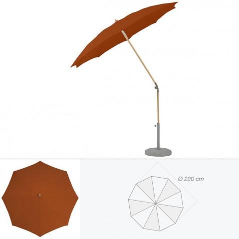 Parasol rond ALEXO de Glatz D.220 cm acajou